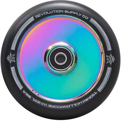 REVOLUTION SUPPLY HOLLOWCORE 110MM SCOOTER WHEEL - BLACK / NEOCHROME OIL SLICK