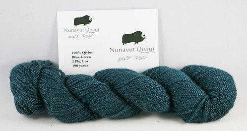 100% Qiviut, Lace, 190yds, 1oz Blue-Green