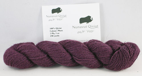100% Qiviut, Lace, 190yds, 1oz, Plum