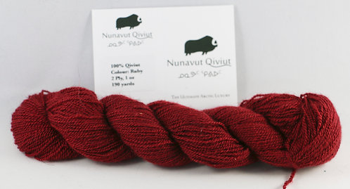 100% Qiviut, Lace, 190 yards, 1oz, Ruby