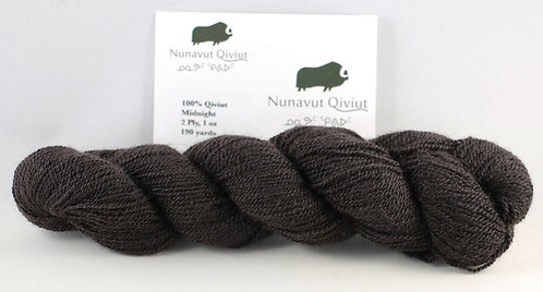 100% Qiviut, Lace, 190yds, 1oz, Midnight