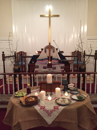 The church prepared for Holy week.