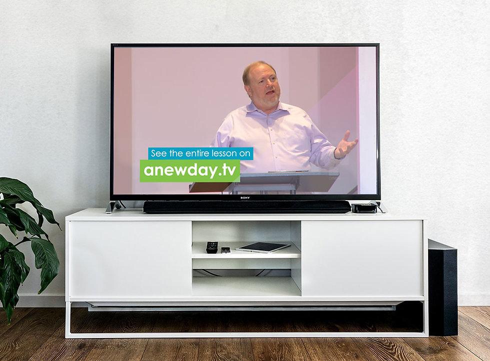 Preacher David Young on a flatscreen TV as a part of the New Day TV Program.