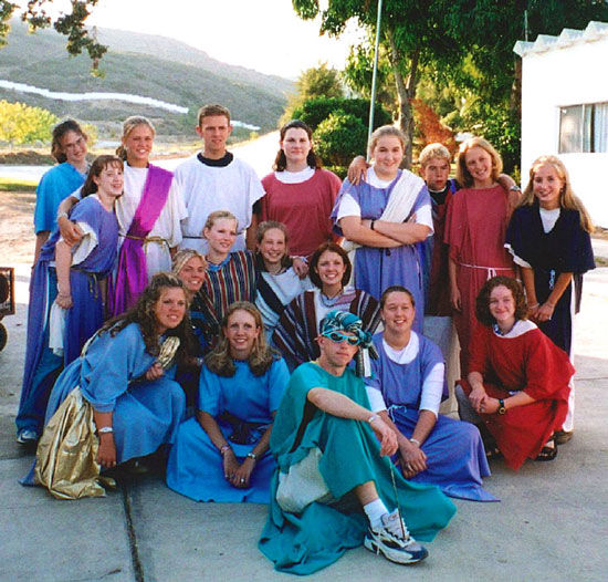 Group of teenagers from the youth group putting on a Vacation Bible School skit for the orphans at the City of Children in Ensenada, Mexico.