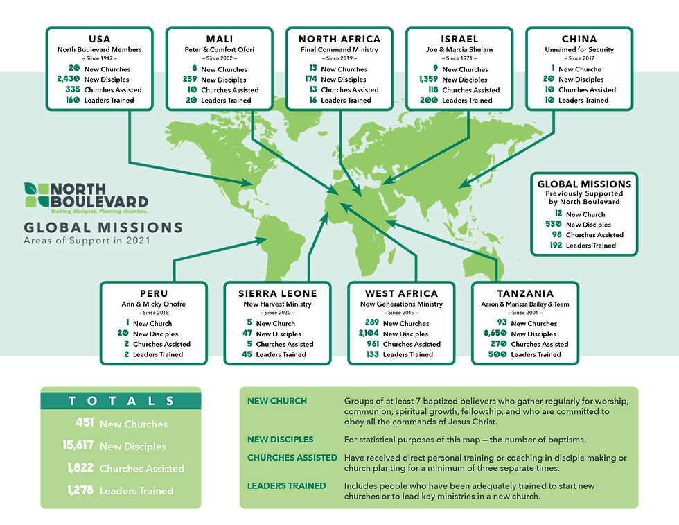 Map of North Boulevard's Global Missions including: USA, Israel, China, Peru, Mali, Sierra Leone, North Africa, West Africa, and Tanzania.