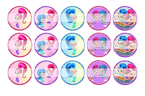 Shimmer and Shine - Bottle Cap Designs