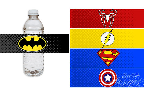 Superhero - Water Bottle or Soda Pop Label