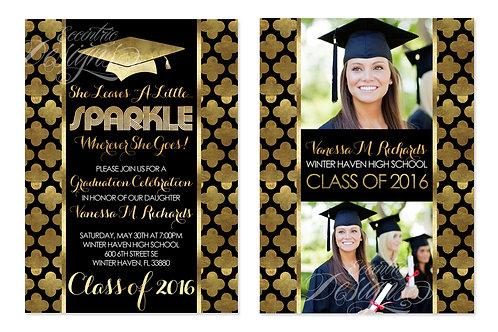 Black & Gold Foil - Digital Graduation Invitation