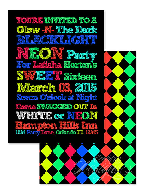 Neon Party - Digital Birthday Invitation