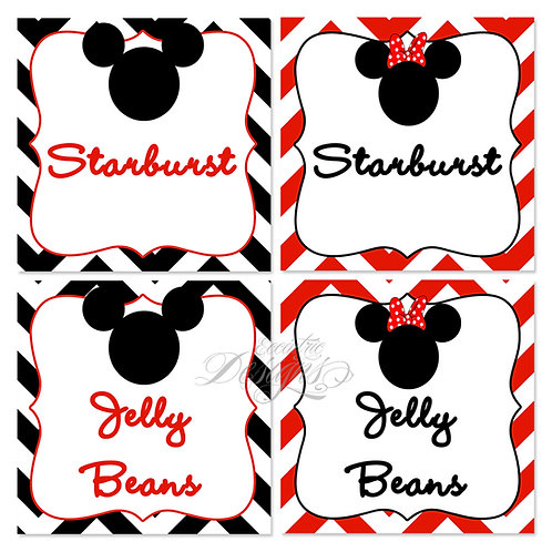 Dessert Table/Candy Buffet Labels (Mickey/Minnie)
