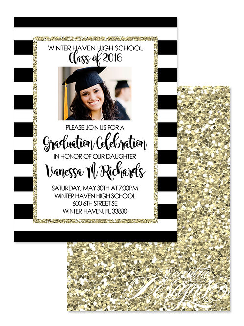 Glitter & Stripes - Digital Graduation Invitation