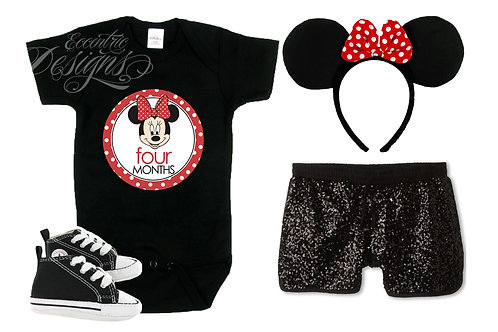 Minnie Mouse - Newborn Milestone Onesie Stickers