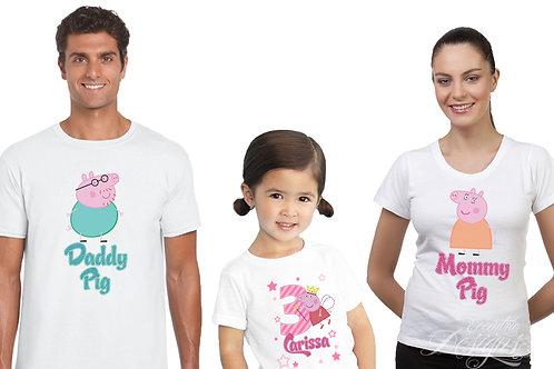 Peppa Pig Family - Iron-on Tshirt Transfers
