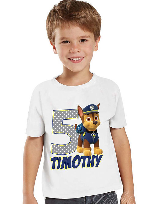 Paw Patrol (Chase) - Iron-on Tshirt Transfer
