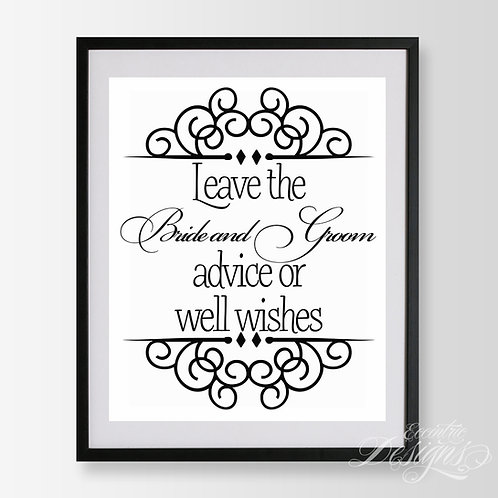 8X10 - Advice and Well Wishes Wedding Sign