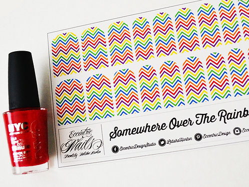 Rainbow Chevron - Nail Decals