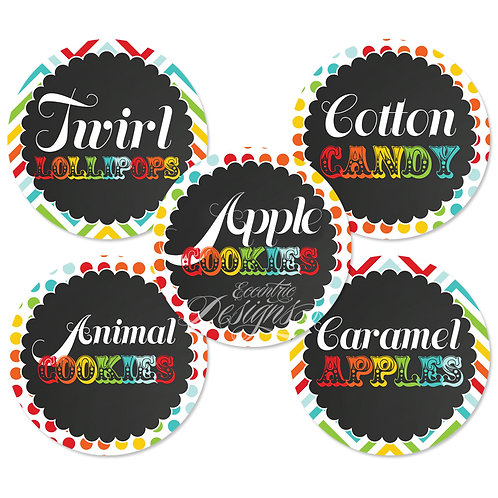 Dessert Table / Candy Buffet Labels (Carnival)