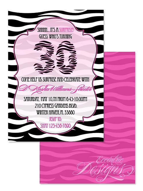 Zebra Animal Print - Birthday Party Invitation