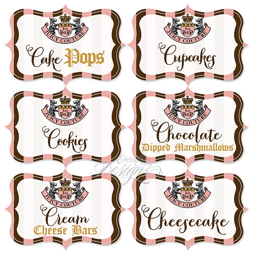 Dessert Table/Candy Buffet Labels (Juicy Couture)