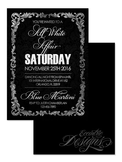 All White Affair - Birthday Invitation