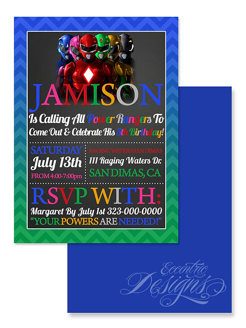 Power Rangers - Digital Birthday Invitation