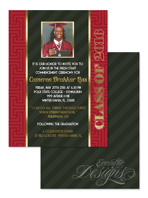 Faux Gold Foil - Digital Graduation Invitation