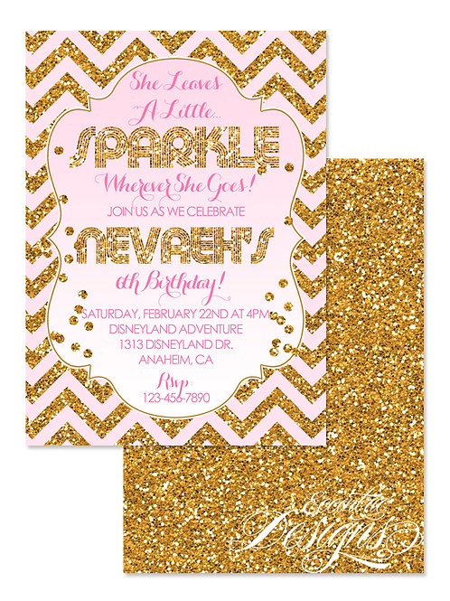 She Leaves A Little Sparkle - Birthday Invitation