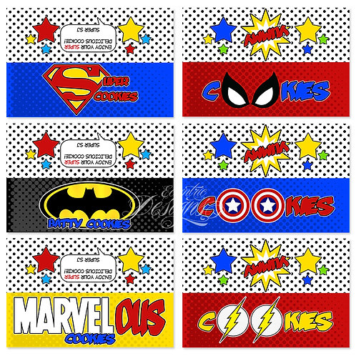 Superhero - Cookie Favor Bag Toppers