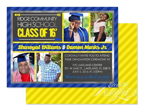 Twins Chalkboard - Digital Graduation Invitation