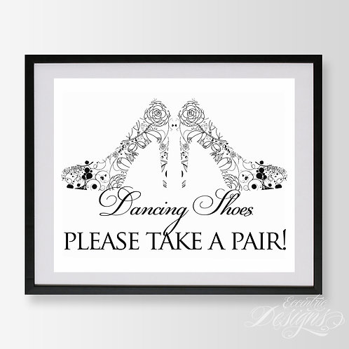 8X10 - Dancing Shoes Wedding Sign