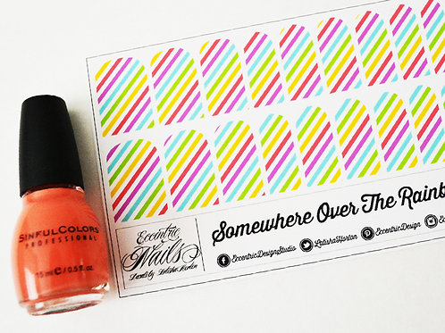 Sherbert Rainbow Angled Striped - Nail Decals