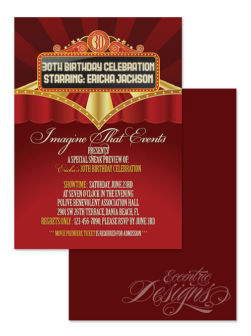 Movie Premiere - Digital Birthday Party Invitation