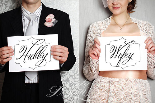Hubby / Wifey - Photography Prop / Signs