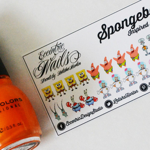 Eccentric Designs Custom Stationery Personalized Gift Items - Spongebob nail decals