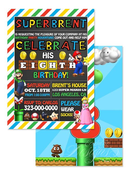 Super Mario - Digital Birthday Invitation