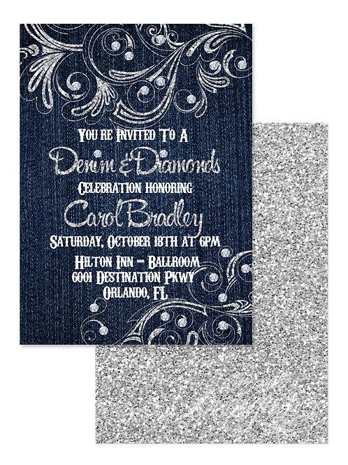 Denim and Diamonds - Birthday Invitation