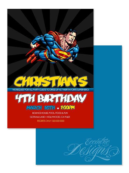 Supehero / Superman - Digital Birthday Invitation