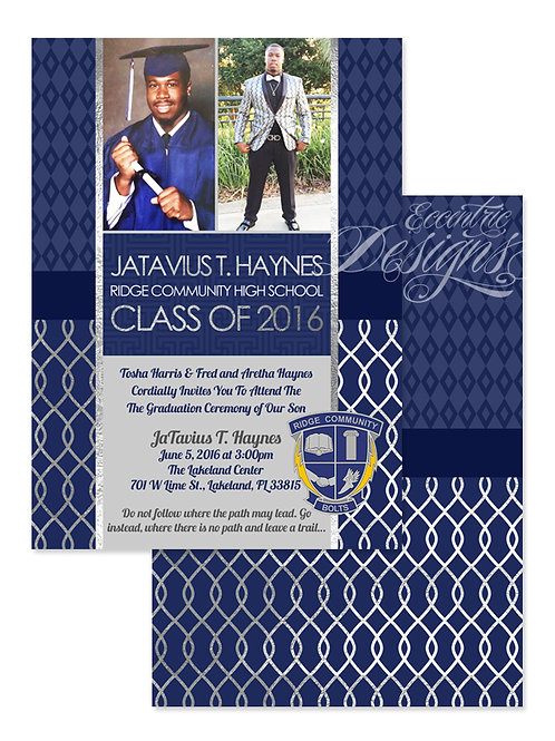 Blue & Silver Foil - Digital Graduation Invitation
