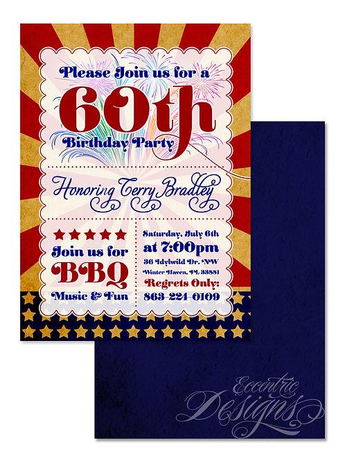 Fourth of July - Digital Birthday Invitation