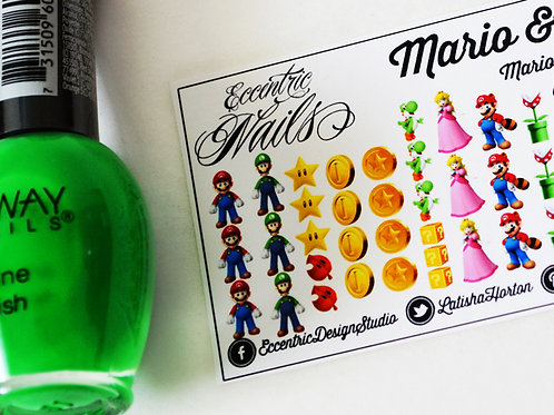 Super Mario and Luigi - Nail Decals
