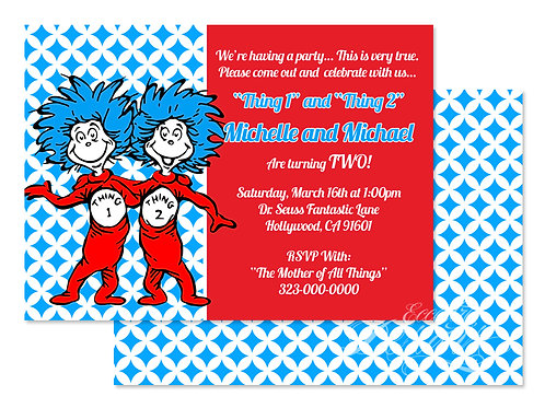 Thing 1 and Thing 2 - Digital Birthday Invitation