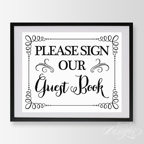8X10 - Guest Book Wedding Sign