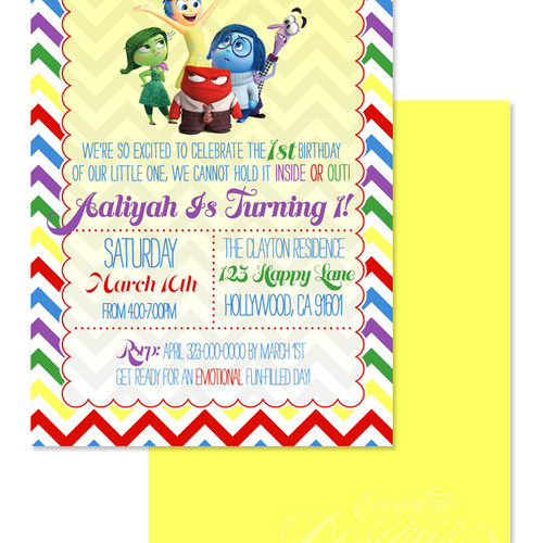 Eccentric Designs Children Birthday Invitations - Birthday invitations inside out
