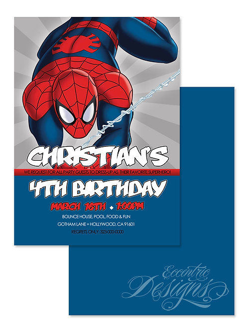 Superhero/Spiderman - Digital Birthday Invitation
