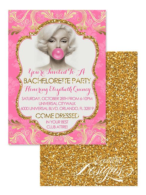 Vintage Pinup Girl - Bachelorette Party Invitation