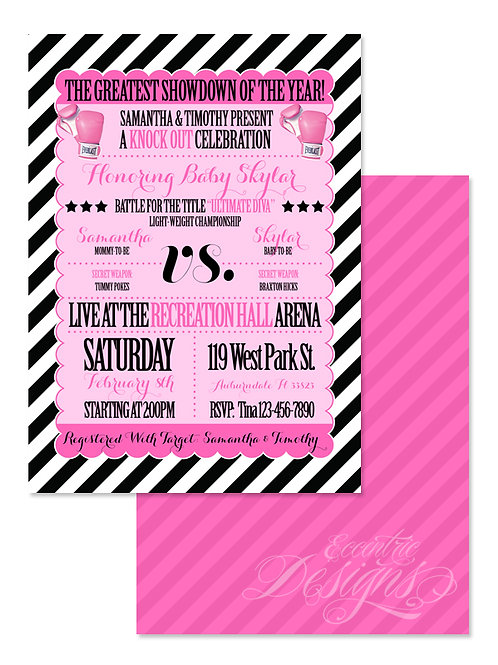 Boxing Knock Out - Digital Babyshower Invitation