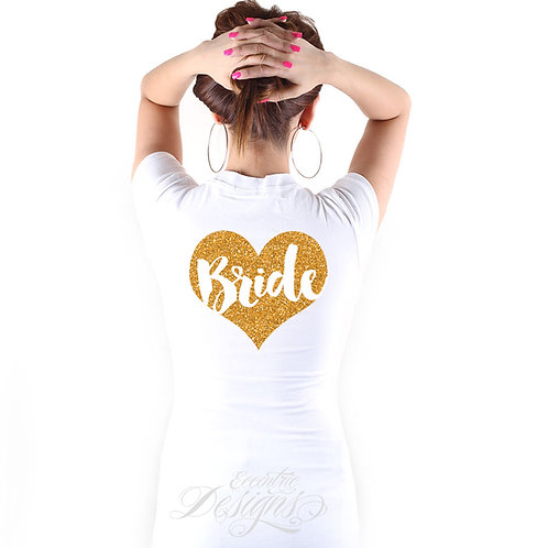Set of 4 - Bridal Party Iron on Tshirt Transfers