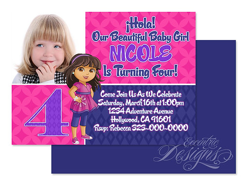 Dora The Explorer - Digital Birthday Invitation