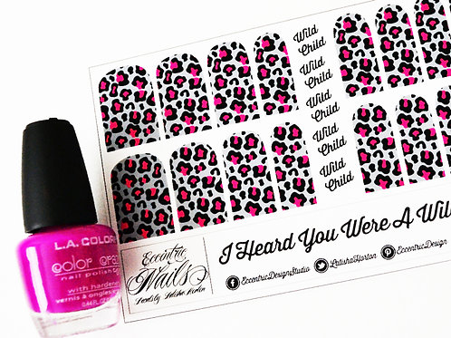 Silver and Pink Leopard - Nail Decals