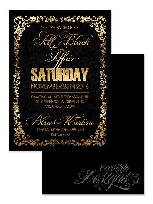 All Black Affair - Birthday Invitation